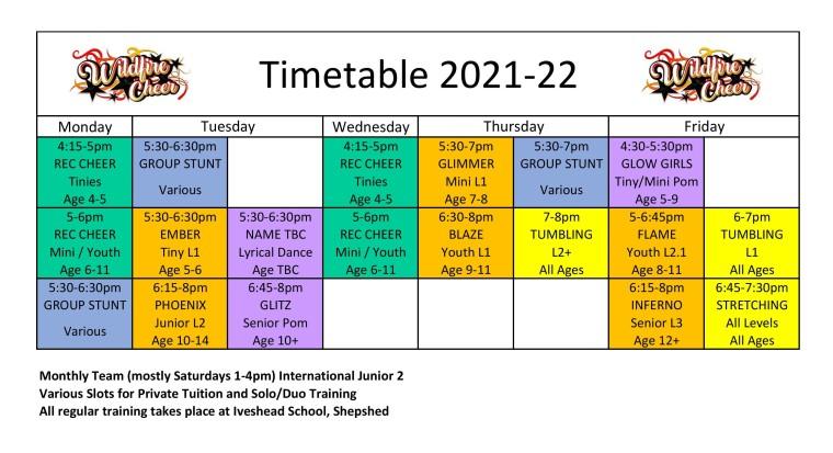 2021-22 Timetable